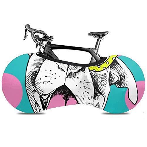 Rock N Roll Cubierta de Bicicleta Portátil Interior Anti Polvo Alta Elástica Cubierta de Rueda Cubierta de Bicicleta Protector Rip Stop Neumático Carretera MTB Bolsa de Almacenamiento, Fiesta del Perro, talla única