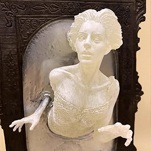PRINI Escultura de espejo fantasma victoriano, brilla en la oscuridad, escultura de pared en 3D fantasmas espeluznantes fantasmas decoración creativa estatua de espejo fantasma (mujer)