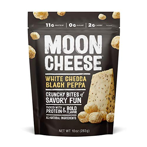 Moon Cheese White Chedda Black Peppa, 100% Cheddar Cheese Snacks, Crunchy Keto Food, Low Carb, High Protein, 10 oz (1 Pack)
