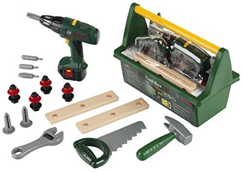 Theo Klein 8429 Cassetta degli attrezzi Bosch con sega, martello, pinza e molto altro, Avvitatore a batteria alimentato a batterie, 31 x 16.5 x 22.5 cm, Giocattolo per bambini a partire dai 3 anni