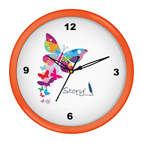 Story@Home Round Shape Plastic Modern Stylish Wall Clock with Glass for Home/Kitchen / Living Room/Bedroom/Office - 10 in , Orange