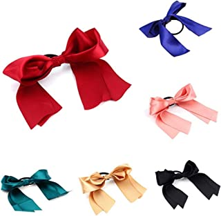 TRIXES Pack of 6 Pretty Ribbon Elasticated Hair Ties – Girls Hair Accessory - Assorted Colours