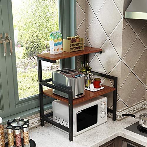 HYYDP Rack de almacenamiento de cocina Rack de horno de microondas Armario de pie Organizador de estante de 2 niveles, Racks de olla arrocera, Altura ajustable, 60x41x67cm Estantes y soportes para oll