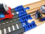 TrainLab Track Adapters Compatible with Trackmaster (2014+) to Wooden Railway Train Tracks (2pc) (Blue)