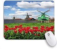 ECOMAOMI 可愛いマウスパッド アムステルダムの風光明媚なフィールド川の装飾的な赤いチューリップと伝統的なオランダの風車 滑り止めゴムバッキングマウスパッドノートブックコンピュータマウスマット