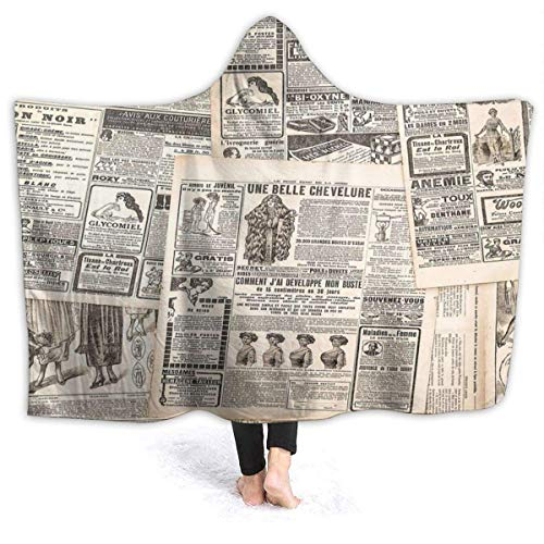 Throw Blanket Sofá De Fondo De Periódico Francés Vintage con Capucha, Suave, 102 X 127 Cm, Silla Especial, Franela, Manta De Lana, Cama, Todas Las Estaciones, Acogedora Manta para