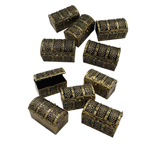 10pcs Mini Pirata Cofres de Tesoro, Cofre del Tesoro Caja, Vintage Pirata Joyería Caja, Niño Pirata Baúl Almacenaje para Pirata Joya Recuerdo, Accesorios Decoración Cofre del Tesoro