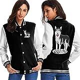 BYYKK Chaquetas Ropa Deportiva Abrigos, Siberian Husky Dog Women's Long Sleeve Baseball Jacket Baseball Cotton Jacket