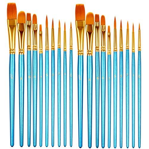 HTHL 20 Pcs Set Paint Brushes Nylon Hair Brush for Acrylic Painting Oil...