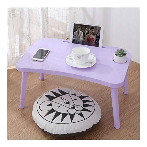 Plegable portátil, mesa portátil, escritorio desayuno, bandejas de servicio de cama plegable ajustable con bandeja y patas abatibles, ordenador, consola de escritorio, color verde, color morado