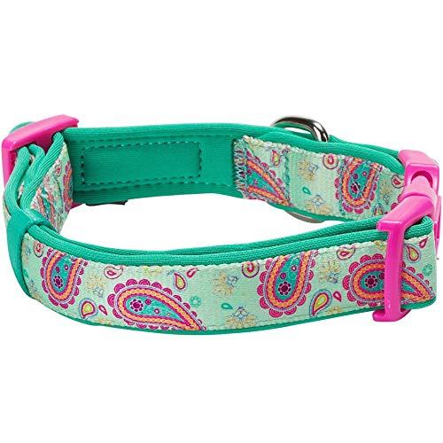 Blueberry Pet 1,5cm S Paisley-Druck Inspiriertes Ultimatives Hell-Smaragdgrün Neopren-Gepolsterte Hundehalsband, Kleine Halsb?nder für Hunde - 2