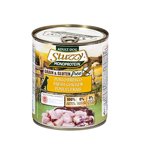 Stuzzy, Comida húmeda para Perros Adultos, Sabor Pollo, preparación monoproteínica en paté - Total 4,8 kg (6 latas x 800 gr) ✅