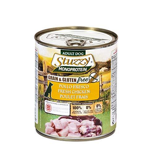 Stuzzy, Cibo Umido per Cani Adulti al Gusto Pollo Preparato Monoproteico in Patè - Totale 4,8Kg (6 Lattine da 800G)