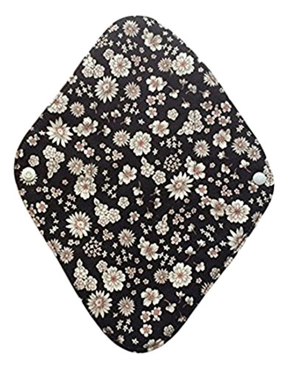 外部有能な大学生華布のオーガニックコットンの布ナプキンホルダー (約17×約23×約0.3cm) ボタニカルブラック