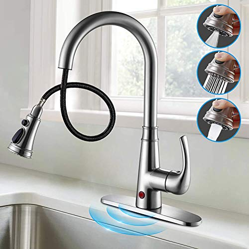Touchless Kitchen Faucet Cobbe Brushed Nickel Kitchen Faucet with Pull Down Sprayer Motion Sensor Sink Faucet