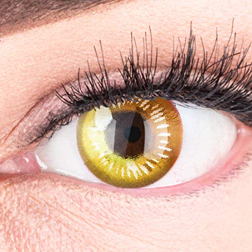 Farbige Gelbe Kontaktlinsen Anime Yellow Circle Lenses Heroes Of Cosplay Stark Deckend Ohne Stärke mit gratis Linsenbehälter