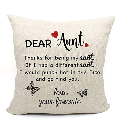 Mancheng-zi Thanks for Being My Aunt Quotes Throw Pillow Cover, Aunt Gifts, Aunt Birthday Gifts, Cushion Case for Sofa Bed Home Decor 18 x 18 Inch