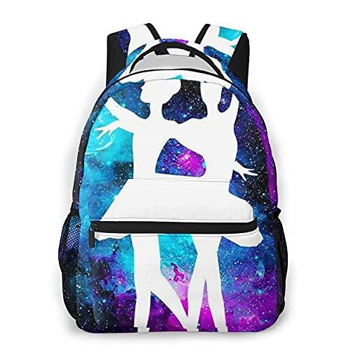 DJNGN Mochila casual con estampado de galaxia, color morado, para viajes, con bolsillos laterales para botella