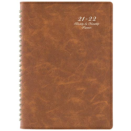 """2021-2022 Planner - Weekly & Monthly Planner with Tabs, 6.5"""" x 8.7"""", Soft Leather Cover with Back Pocket + Thick Paper with Marked Holidays + Twin-Wire Binding - Brown"""