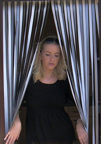 Holland Plastics Original Brand Wohnwagen/Wohnmobil Türvorhang, resistent gegen Bugs und Fliegen. Ideal für Wohnwagen und Wohnmobile - Silber UND Weiss- 62cm breit
