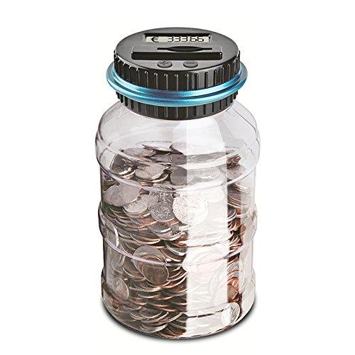 FORNORM Digitale Spardose mit Zähler Münz Zählung Geldglas, LCD Display Münze Gegen Geldbank mit 2*AAA Akku (Nicht Enthalten), 1.5L Speicher 800-1000 Münzen