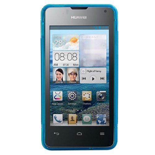 kwmobile Huawei Ascend Y300 Hülle - Handyhülle für Huawei Ascend Y300 - Handy Case in S-Line Design Blau Transparent - 2