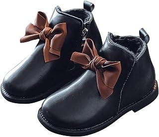 Hopscotch Girls PU Applique Bow Zipper Ankle Length Boot in Black Color