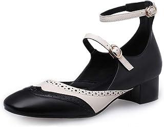 b28b3aa9a2e9 Nine Seven Genuine Leather Women s Round Toe Low Chunky Heel Cute Handmade  Concise Buckle Women Ankle