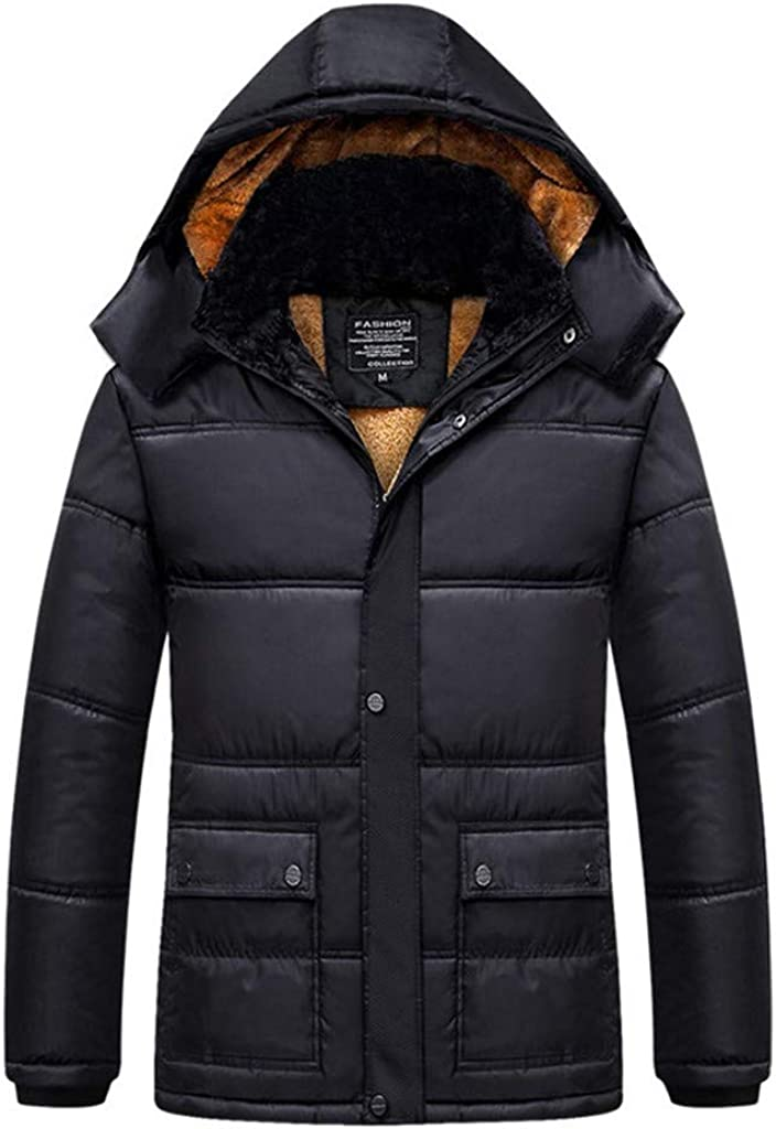 Down Alternative Jacket, NRUTUP Men's Insulated Expedition Mountain Thicken Lined Fur Hooded Long Anorak Parka Padded Coat