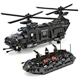 General Jim's Building Blocks Army Toys - Black Hawk Swat Toy Police Helicopter, Raft & Accessories Toy Building Blocks Set