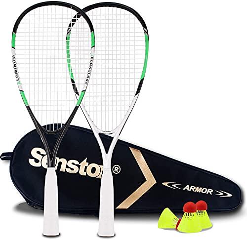 Senston Speed-Badminton Set, Allround Badmintonschläger Set für Strand, Park oder Garten, mit 3 Bällen und 1 Tasche