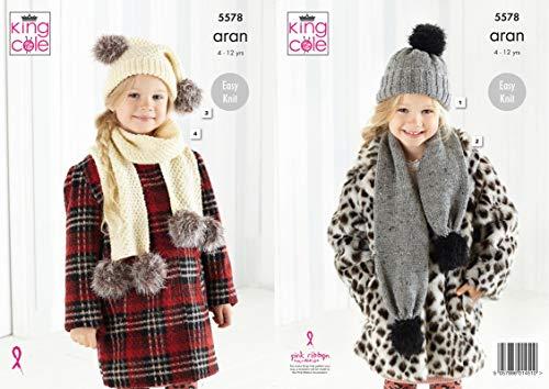 Koning Cole 5578 Breien Patroon Meisjes Hoeden en Sjaals in Mode Aran Bont