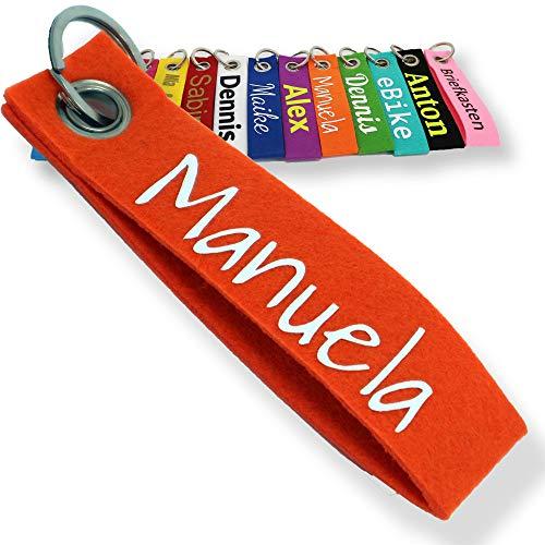 LALALO Schlüsselanhänger aus Filz mit Namen, Personalisiertes Schlüsselband Geschenkidee mit Aufschrift oder Wunschtext, Glücksbringer Filzanhänger mit Name, Geburtstag, Weihnachtsgeschenk (Orange)