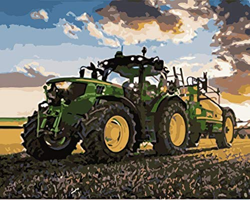 DKIPN malen nach Zahlen Dämmerung Traktor stillleben DIY malerei by Zahlen wandkunst Bild acryl malerei für hauptdekoration 40 * 50cm(ohne Rahmen)