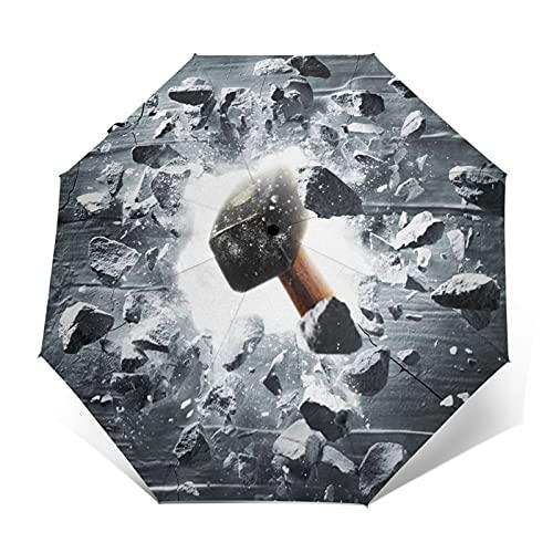 Paraguas Plegable Automático Impermeable Martillo golpeando el Agujero de la Pared, Paraguas De Viaje Compacto a Prueba De Viento, Folding Umbrella, Dosel Reforzado, Mango Ergonómico