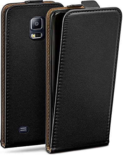 moex Flip Hülle für Samsung Galaxy S5 / S5 Neo Hülle klappbar, 360 Grad R&um Komplett-Schutz, Klapphülle aus Vegan Leder, Handytasche mit vertikaler Klappe, magnetisch - Schwarz