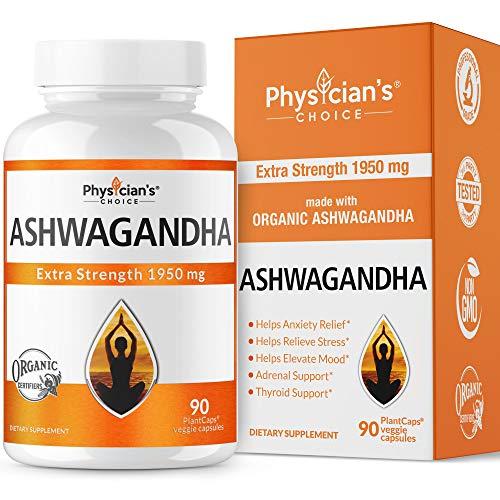 Ashwagandha 1950mg Organic Ashwagandha Root Powder Extract of Black Pepper Anxiety Relief,...