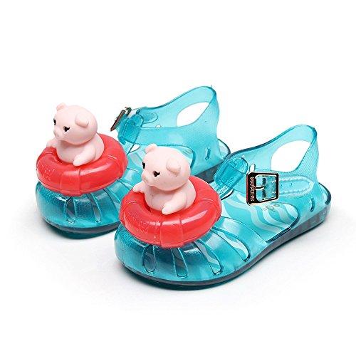 Babyschuhe Kinder Kinder Mädchen Jungen Schwein Rettungsring Gummi Wasserdichte Sandalen Regen Casual für Kinder 1,5-2,5 Jahre alt (Blau)