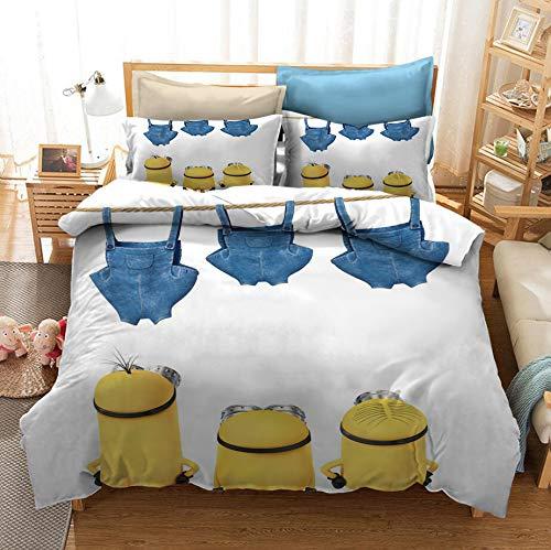 Resuket weiß Bettwäsche Set Minions Kinder Bettbezug Set Super King Größe 3PCS für Mädchen Jungen (1 Bettbezug, 2 Kissenbezug) Wihtout Tröster Füller