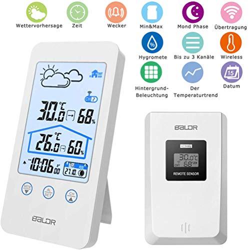 MASOMRUN Wetterstation Funk mit Außensensor,Digitales Thermometer Hygrometer Universal Weather Station mit Aussenfühler wecker luftfeuchtigkeit Regenmesser,Großem LCD-Bildschirm, Wecker. Kristallweiß