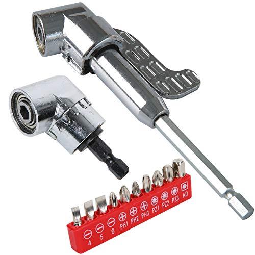Laoyoung Winkelschrauber Vorsatz Adapter 105° 3 teilig Set lang/kurz Winkelschraubervorsatz mit 1/4-Zoll Schnellwechsel- und magnetischen Bit Halter, und 10 tlg Schraubendreher Set