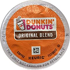 Includes Dunkin Donuts Original K-Cup Pods, Original Blend, 24 Count (Packaging May Vary) Brewing occurs inside the K-Cup so no flavor residue is left behind to spoil the next cup. Single-serving packaging means no mess or wasted pots of coffee; for ...
