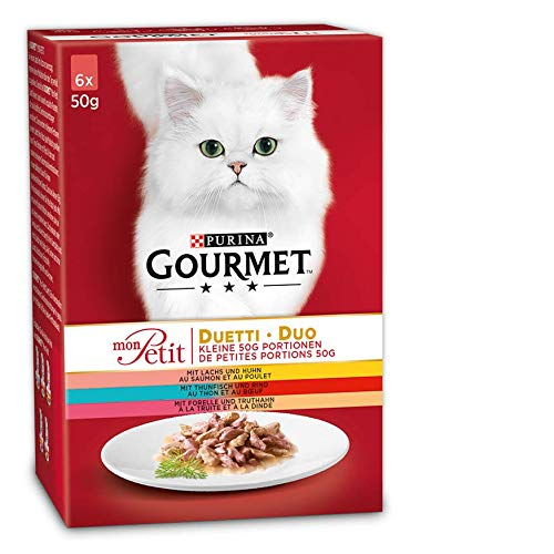 PURINA GOURMET Mon Petit Duetti Katzenfutter nass, Sorten-Mix, 8er Pack (8 x 6 Beutel à 50g)