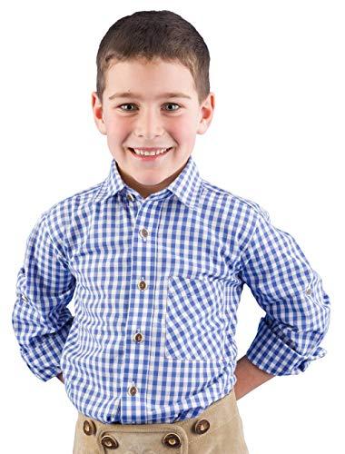 Isar-Trachten Trachtenhemd Kinder Jungen 52915 blau Kariertes Hemd Kinderhemden Jungen Trachtenhemd Kinder Jungen - 164