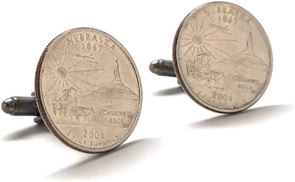 Cufflinks Nebraska State Quarter Enamel Curre Manufacturer regenerated product Jewelry Money San Diego Mall Coin