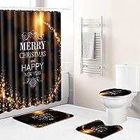 (12のフック付き)メリークリスマス!180センチメートル防水浴室カーテン+滑り止めラグのトイレのふたカバーとバスマット、バスルーム用エルククリスマスシャワーカーテンセット black-180~50*80cm