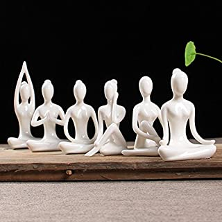 OwMell Lot of 6 Meditation Yoga Pose Statue Figurine Ceramic Yoga Figure Set Decor (White Set)