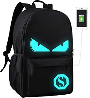 Lmeison Anime Cartoon Luminous Backpack with USB Charger Port and Lock & Pencil Case, Unisex Fashion Black Daypack Shoulder Rucksack Laptop Travel Bag College Bookbag
