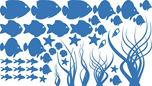 GRAZDesign Wandtattoo Badezimmer Meer Ozean Nordsee Ostsee, Wasserfeste Fliesen Aufkleber Unterwasser Welt, Badezimmer Dekoration Aquarium / 100x57cm 053 hellblau