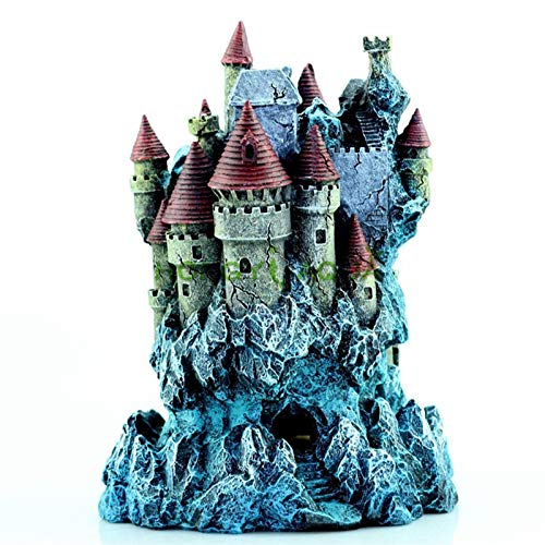 BAN SHUI JU MINSU GUANLI Pecera Paisajismo Decoración De Acuario Casa De Castillo De Ensueño Creativa Decoración De Resina Decoración de Acuarios y Peceras (Color : Fantasy Castle)